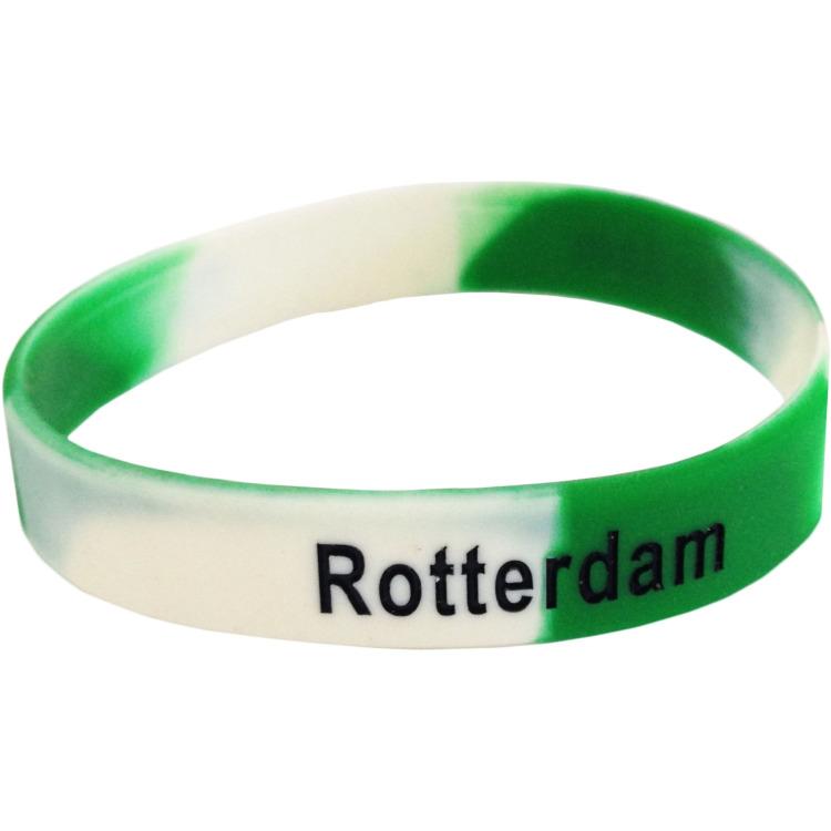 Image of Armbandje Rotterdam Rubber Groen/wi