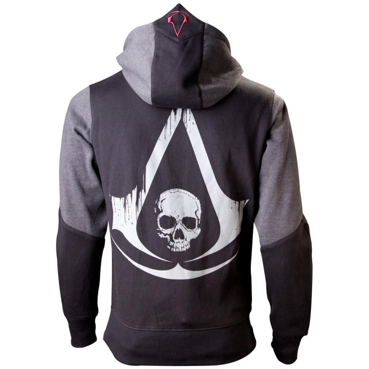 Image of Assassin's Creed Black Flag - Black Grey Character Hoodie - Small