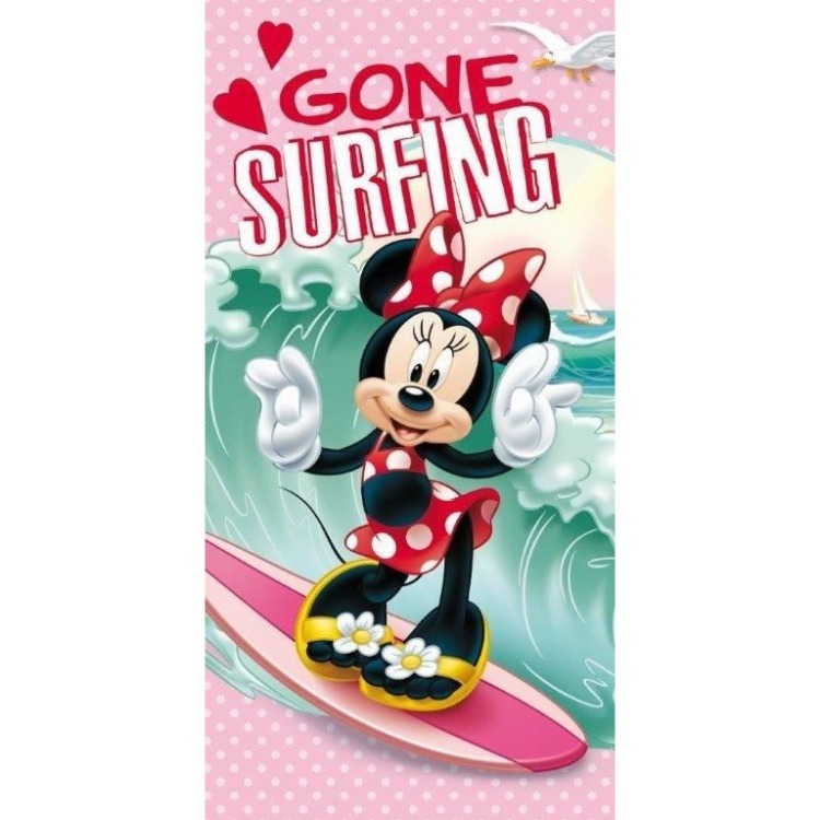 Image of Badlaken Minnie Mouse surf Roze 70 x 140 cm
