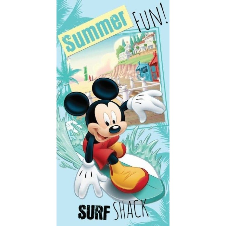 Image of Badlaken Mickey Mouse Surf Blauw 70 x 140 cm