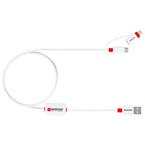 Skross USB 2.0 Aansluitkabel [1x USB 2.0 stekker A 1x USB 2.0 stekker micro-B, Apple dock-stekker Li