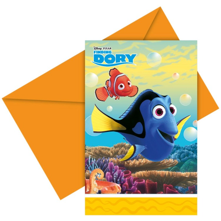 Image of Disney - Invitation Set Finding Dory, 6 cards and envelopes