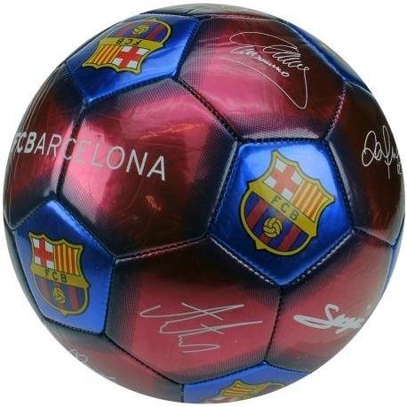 Image of Bal barcelona leer groot blauw/rood handtekeningen