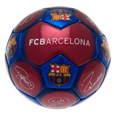 Image of Bal barcelona leer middel blauw/rood handtekeningen