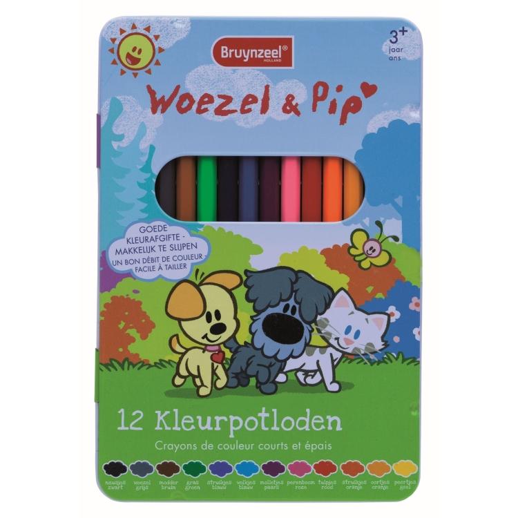 Image of Woezel & Pip Kleurpotloden In Blik, 12 Stuks