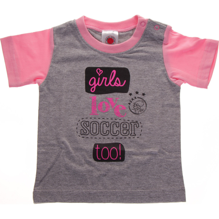 Image of Baby Meisjes T-shirt Roze: Girls Love Soccer Too, Maat 50/56