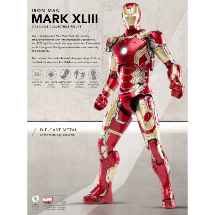 Image of Avengers AoU: Mark 43 Iron Man 1:12 Diecast Figure