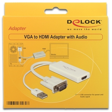 DeLOCK Adapter VGA + Audio naar HDMI (62460)