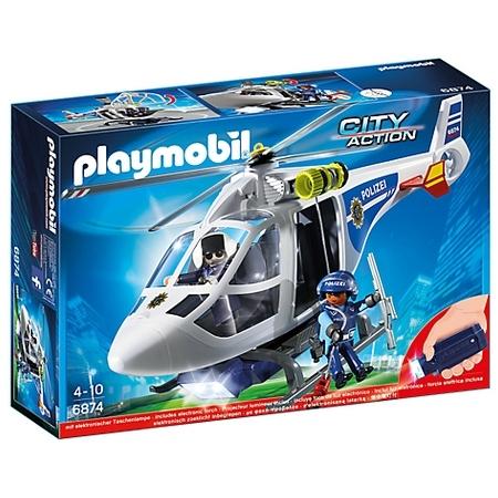 Polizei-Helikopter mit LED-Suchscheinwerfer