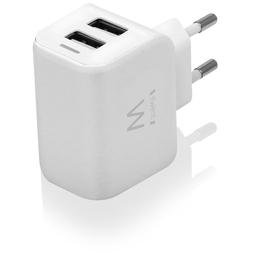 Ewent USB Charger 110-240V 2 port smart charging 2.4A