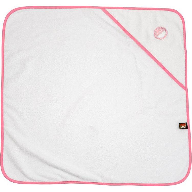 Image of Baby handdoek feyenoord hooded wit/roze: 75x75 cm