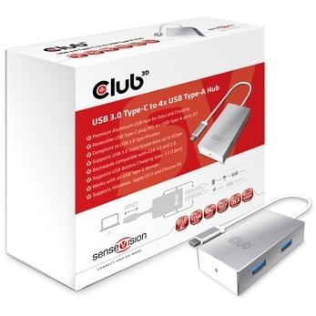 Image of club3D 4 poorten USB 3.0 hub met status-LED's CSV-1541 Zilver
