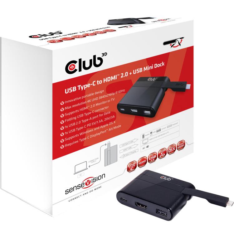CLUB3D Club3D Adapter USB 3.0 Type C > HDMI 2.0-UBS-USB-C (MiniDock) retail (CSV-1534)