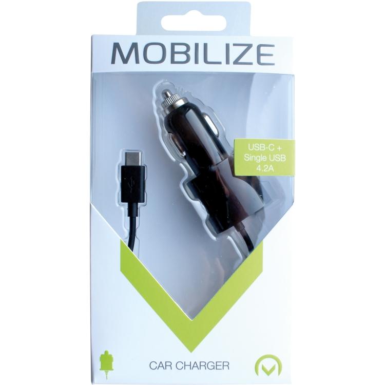 Mobilize Autolader USB C Zwart