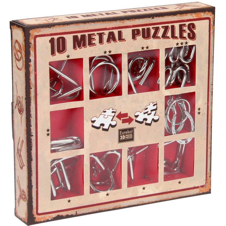 Image of 10 Metal Puzzles Set Rood