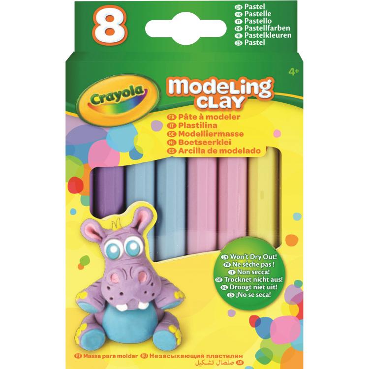 Image of Boetseerklei - 8 sticks Pastel Kleuren