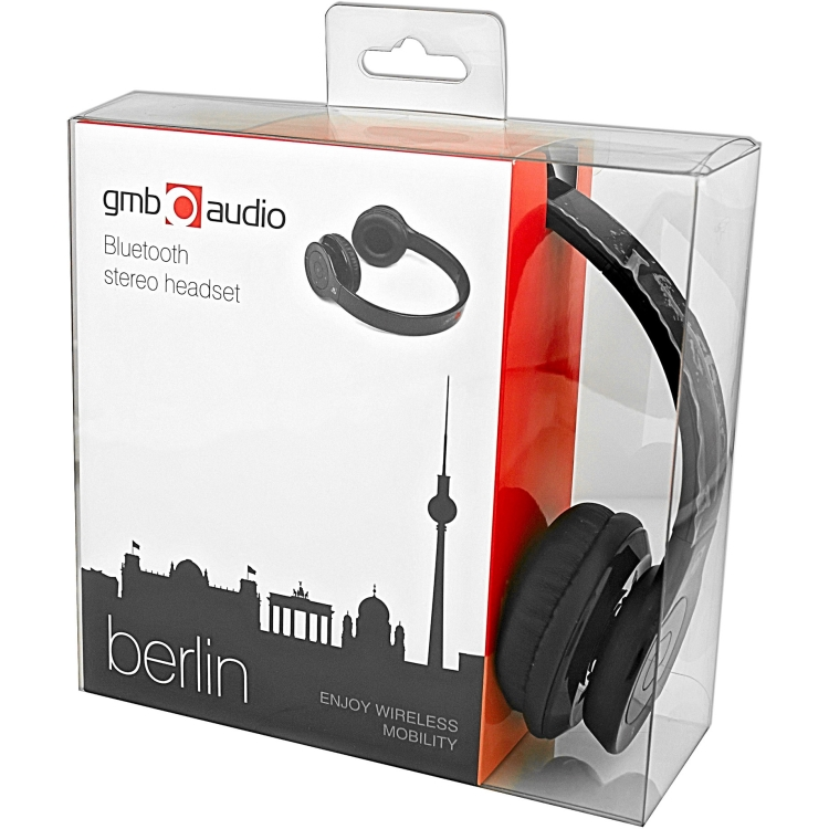 Gembird BHP-BER-BK Bluetooth stereo headset Berlin black (BHP-BER-BK)