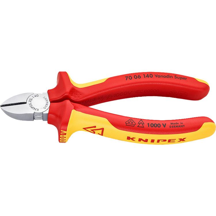 Knipex Knipex VDE-zijkniptang 7006 Uitvoering VDE Snijwaarden (max.) Zacht-middelhard-hard draad: Ø