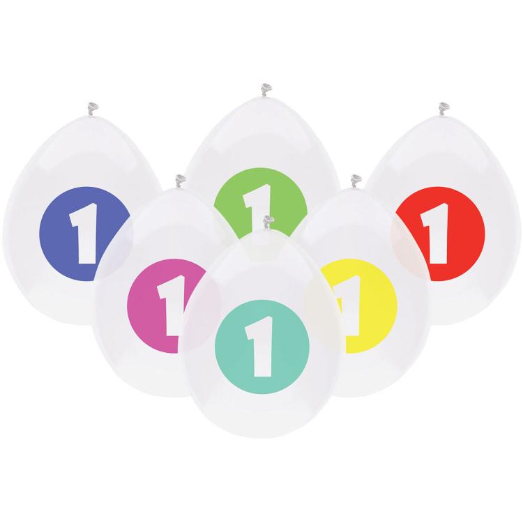 Image of 1 Jaar Confetti Ballonnen, 6 Stuks