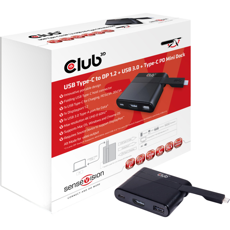Image of CLUB3D Mini Dock USB Type-C to Displayport1.2 + USB3.0 + USB Type C Charging
