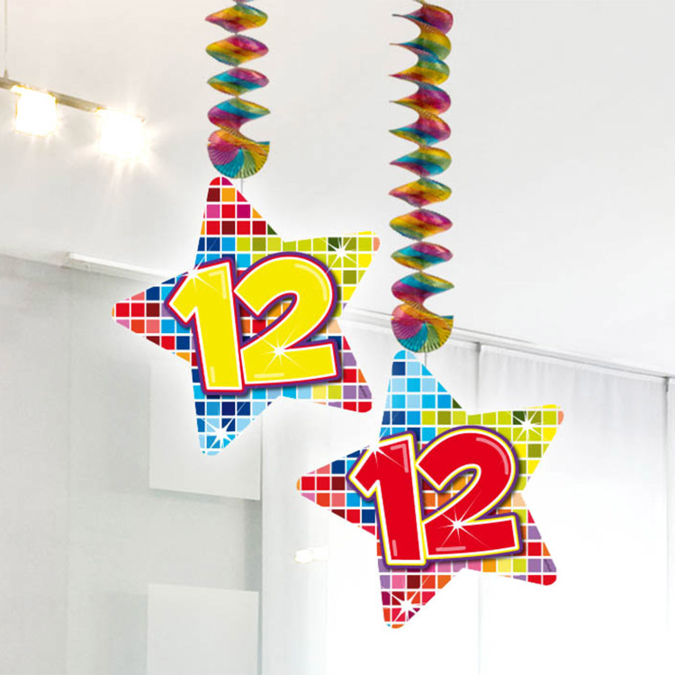 Image of 12 Jaar Blocks Hangdecoratie, 2 Stu