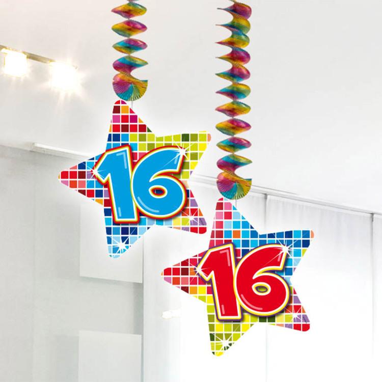 Image of 16 Jaar Blocks Hangdecoratie, 2 Stuks