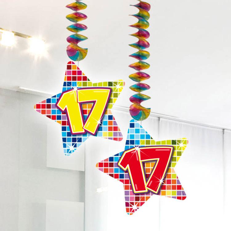 Image of 17 Jaar Blocks Hangdecoratie, 2 Stuks