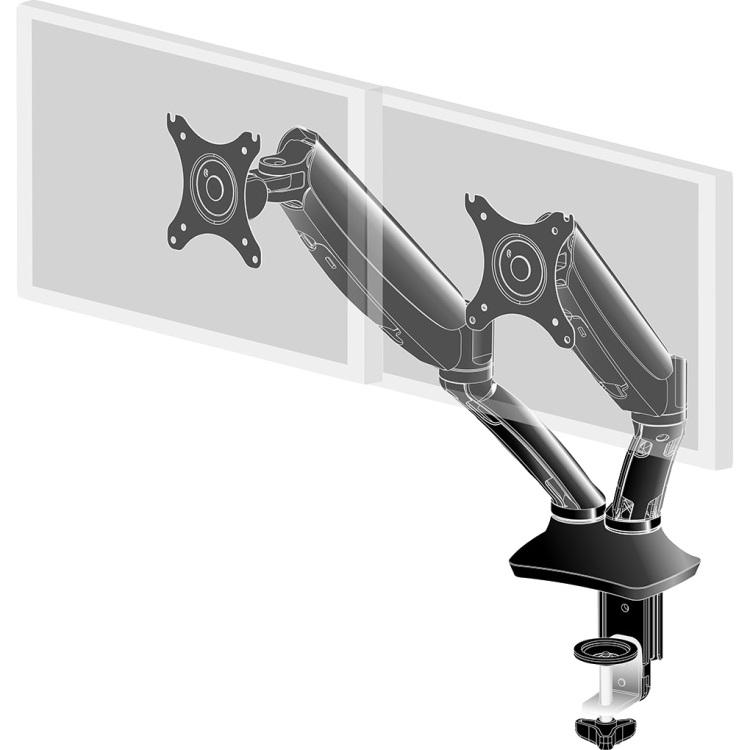Productafbeelding voor 'Dubbele gasveer monitorarm DS3002C-B1'