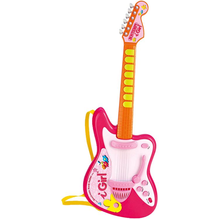 Image of Elektrische rock gitaar met licht - roze