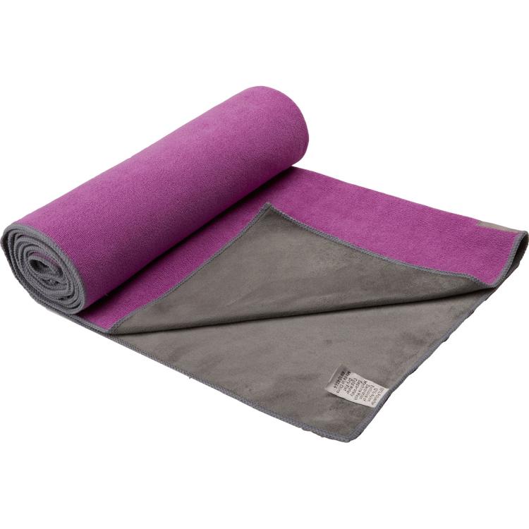 Image of Dual-Grip Yogahanddoek Paars/grijs