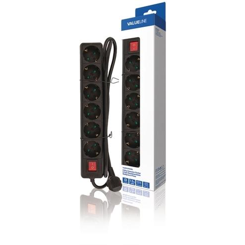 Valueline 6-wegs schuko-stekkerdoos kabel 1,50 m zwart (VLES615F002BL)