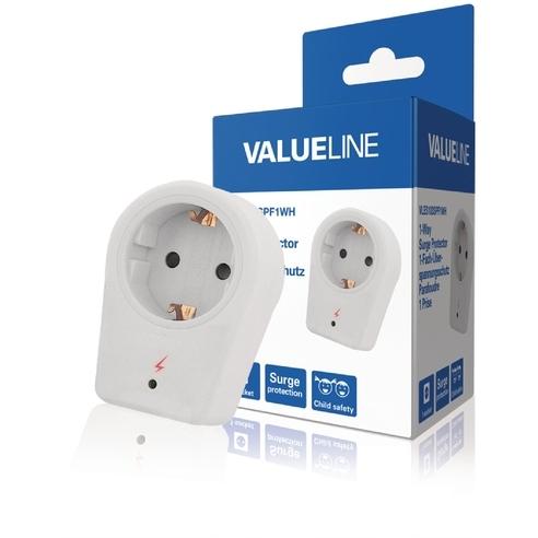 Valueline 1-wegs schuko-adapter overspanningsbeveiliging wit (VLES100SPF1WH)