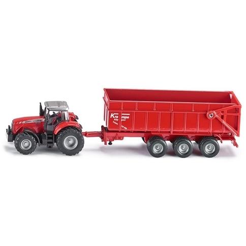 Siku Massey Ferguson tractor met aanhangwagen -