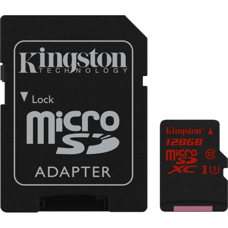 Kingston Technology Flash card Micro-SD128GB Kingston UHS-1 UHS-1,class3 90R-80W, adapter (SDCA3-128