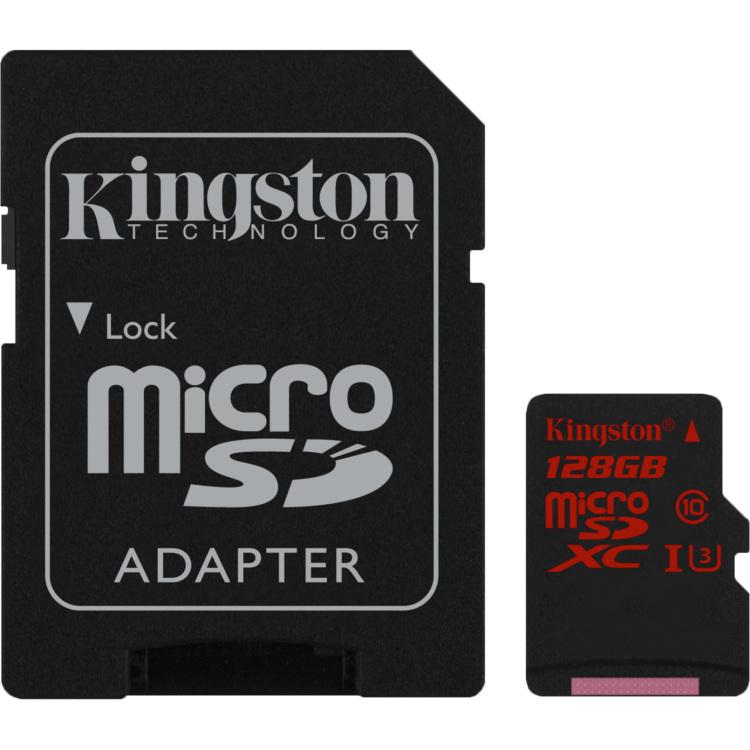 Kingston Technology Flash card Micro-SD128GB Kingston UHS-1 UHS-1,class3 90R-80W, adapter (SDCA3-128