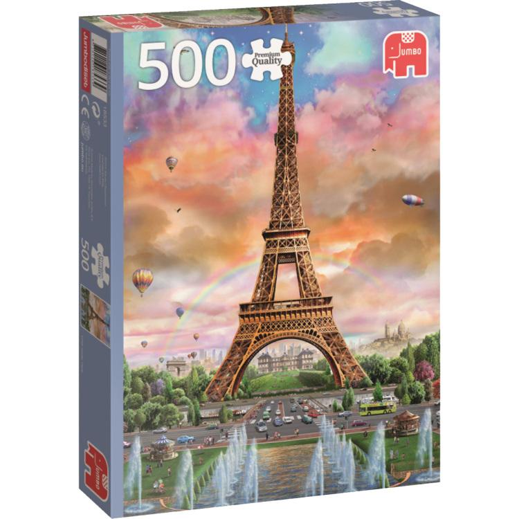 Deze puzzel bestaat uit 500 stukjes en heeft een afbeelding van de eiffeltoren in frankrijk.