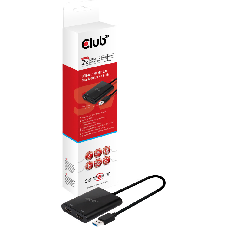 CLUB3D USB A to HDMI© 2.0 Dual Monitor 4K 60Hz