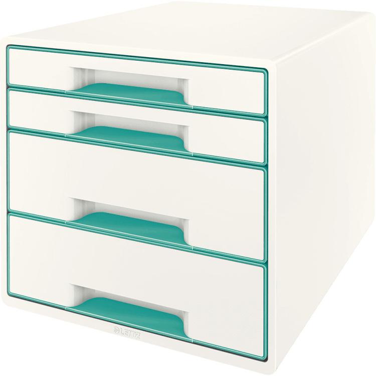 Ladenbox Leitz 5213 WOW 4 laden wit-ijsblauw