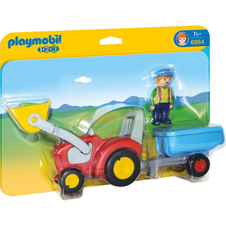 Alternate-PLAYMOBIL 1.2.3 - Boer met tractor en aanhangwagen 6964-aanbieding