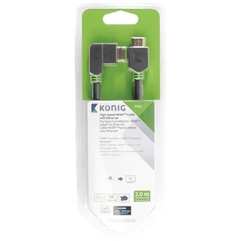 High Speed HDMI kabel met Ethernet HDMI connector HDMI connector links gehoekt 2,00 m grijs