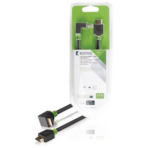 High Speed HDMI kabel met Ethernet HDMI connector HDMI connector 90° haaks 2,00 m grijs