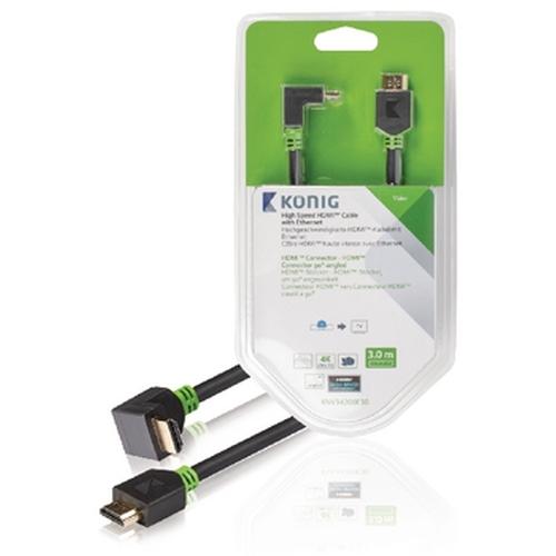 High Speed HDMI kabel met Ethernet HDMI connector HDMI connector 90° haaks 3,00 m grijs