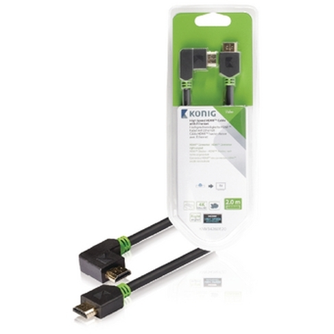 High Speed HDMI kabel met Ethernet HDMI connector HDMI connector rechts gehoekt 2,00 m grijs