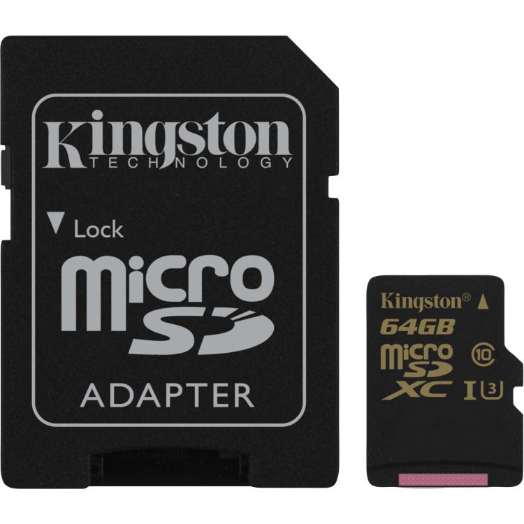Kingston Technology Gold microSD UHS-I Speed Class 3 (U3) 64GB 64GB MicroSDHC UHS-I Klasse 3 flashge