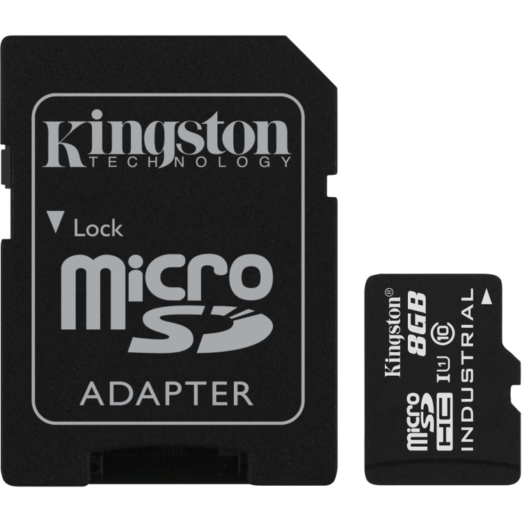 Kingston Technology Flash card Micro-SD 8GB Kingston Ind. UHS-I Class 10 Industrial Temp (SDCIT-8GB)