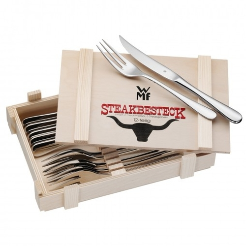 Steakbestek in houten kist, WMF, 12-delig