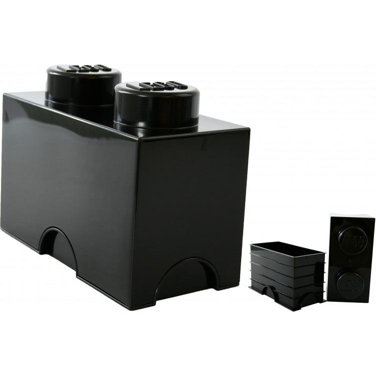 Lego Opbergbox - Brick 2 - 12,5 x 25 x 18 cm - 2,7 l - Zwart