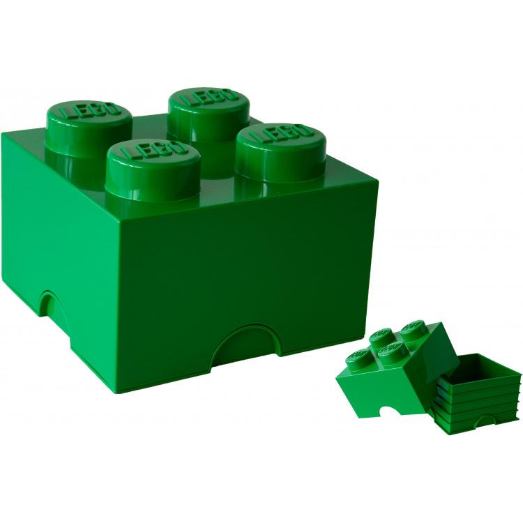 Lego Opbergbox - Brick 4 - 25 x 25 x 18 cm - 6 l - Donkergroen