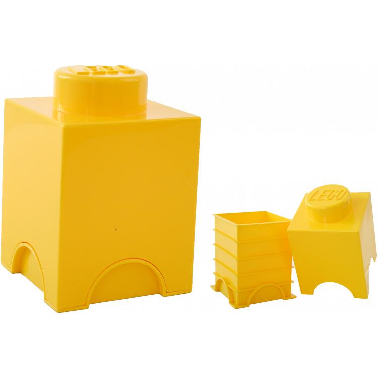 Lego Opbergbox - Brick 1 - 12,5 x 12,5 x 18 cm - 1,2 l - Geel