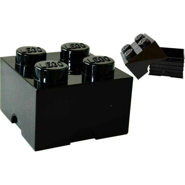 Lego Opbergbox - Brick 4 - 25 x 25 x 18 cm - 6 l - Zwart